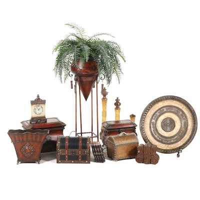 Artificial Fern in Metal Plant Stand and More Home Decor