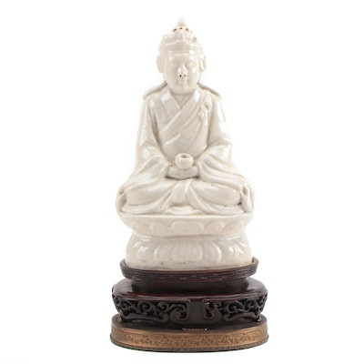 East Asian Porcelain Seated Buddha Table Lamp Base