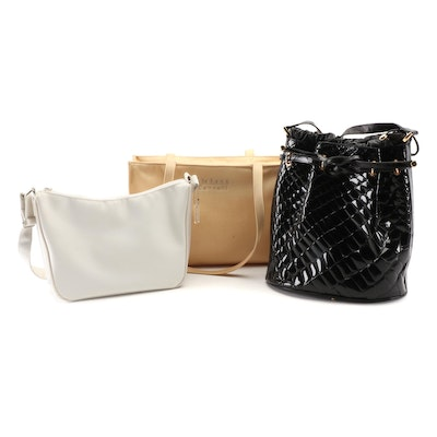 Diahann Carroll Tote, Black Embossed Faux Leather Bucket Bag and Metro Gear Bag