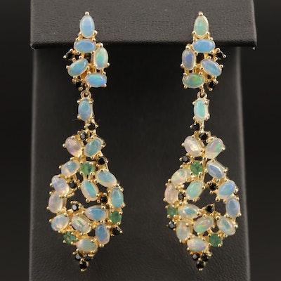 Sterling Opal and Black Onyx Dangle Earrings