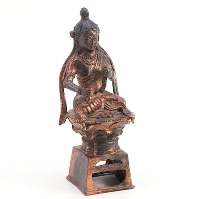 East Asian Gilt and Polycrome Metal Seated Buddha