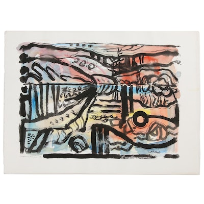 Jack Meanwell Abstract Watercolor Painting, 1980