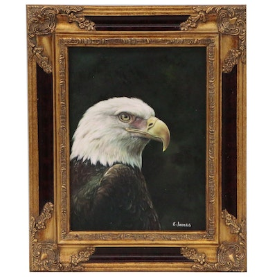 E. James Acrylic Painting of a Bald Eagle, 21st Century