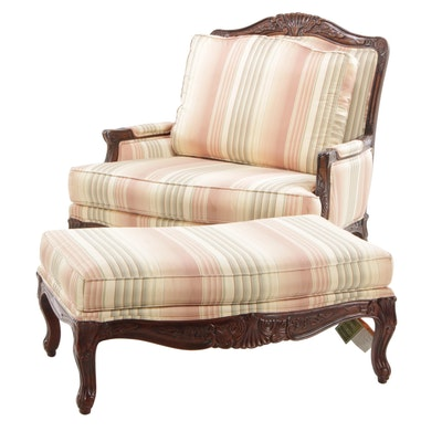 Ethan Allen Louis XV Style Over-Sized Chair and Ottoman