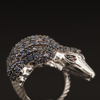 Sterling Sapphire and Ruby Pangolin Motif Ring