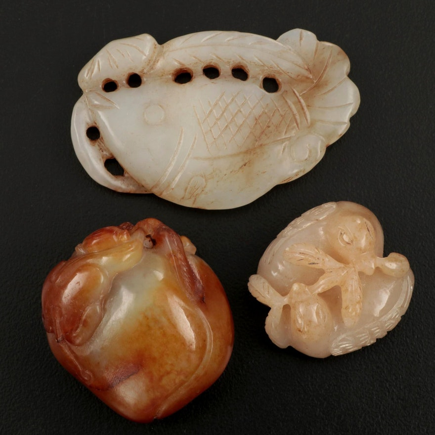 Chinese Nephrite Monkey with Peach, Hens, and Koi Pebble Carvings