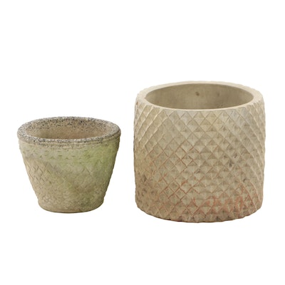 Pineapple Textured Terracotta and Cement Planters, Late 20th Century