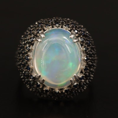 Sterling Opal and Sapphire Lattice Motif Ring