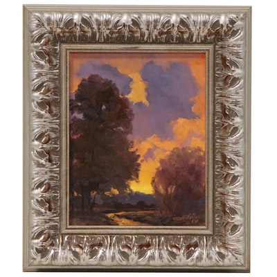 Jeff Love Sunset Landscape Acrylic Painting, 21st Century