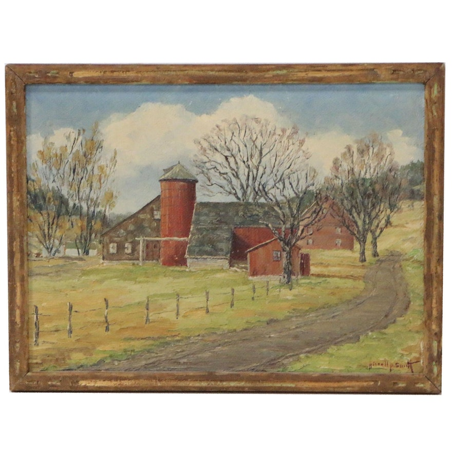 """Bissell Phelps Smith Landscape Oil Painting """"The Red Silo"""", Mid 20th Century"""