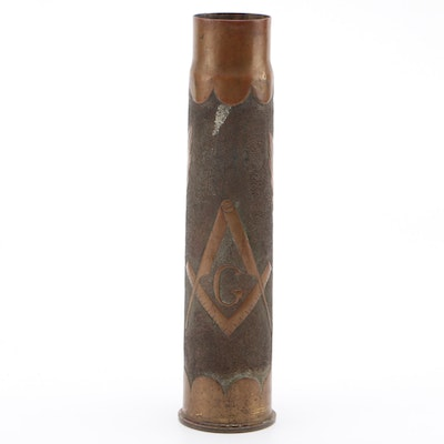 Masonic Trench Art 37mm Brass Shell Casing Vase, Spanish-American War Era