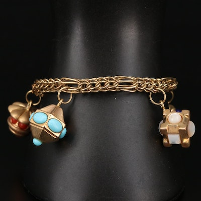 14K Mixed Gemstone Charm Bracelet