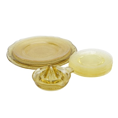 Anchor Hocking and Other Yellow Depression Glass Dinnerware, Early 20th Century