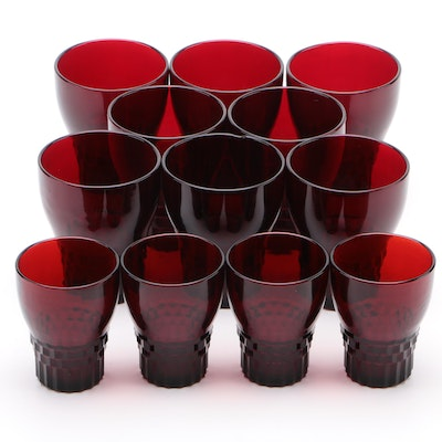 "Anchor Hocking ""Windsor Royal Ruby"" Glass Tumblers, Mid-20th Century"