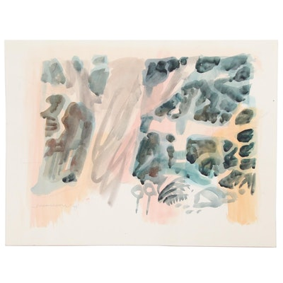 Jack Meanwell Abstract Graphite Embellished Watercolor Painting, 1997