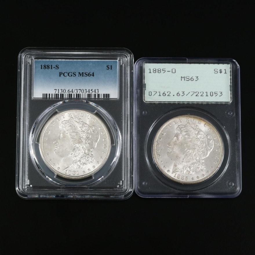 PCGS Graded MS64 1881-S and MS63 1885-O Morgan Silver Dollars
