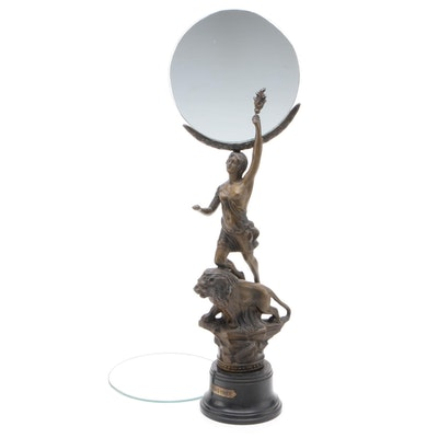 "French Neoclassical Bronze Tone Spelter ""La Force"" Mirror and Additional Mirror"
