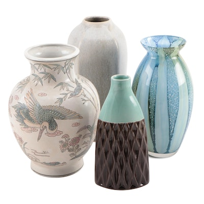 Hand Painted Chinese, Ceramic and Glass Vases, Mid to Late 20th Century