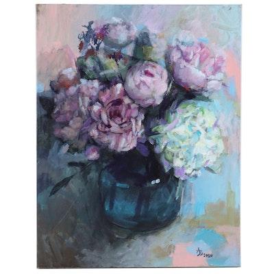 "Alexandra Zecevic Acrylic Painting ""Pink Peony"", 2020"