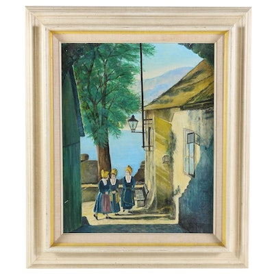 Ned Seifert Coastal Village Alley Scene Oil Painting