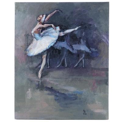 "Alexandra Zecevic Acrylic Painting ""Swan Lake"", 2020"