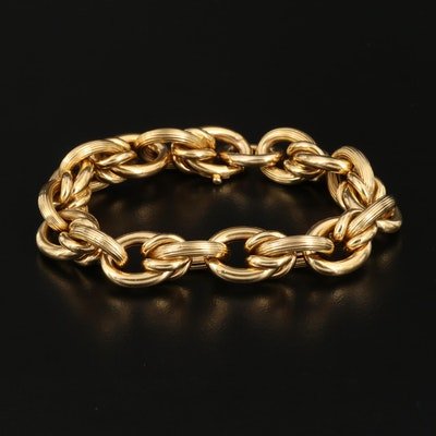18K Textured Cable Chain Bracelet