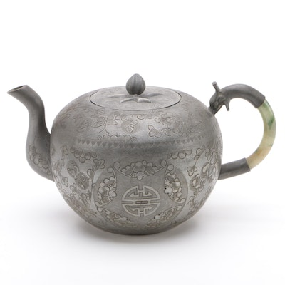 Chinese Engraved Pewter Teapot with Jadeite Handle