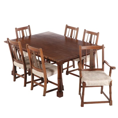 Arts & Crafts Walnut Finish Dining Set, Early 20th Century