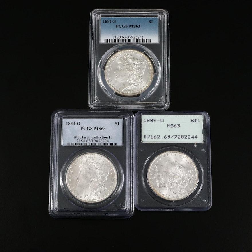 PCGS Graded MS63 1881-S, 1884-O and 1885-O Morgan Silver Dollars