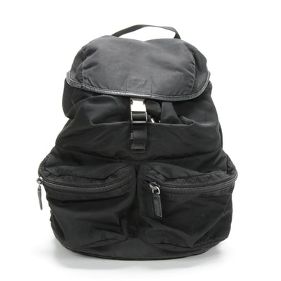 Prada Backpack in Black Tessuto Nylon with Saffiano Leather Trim