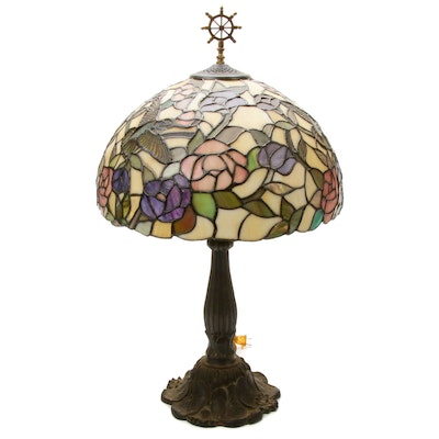 Tiffany Style Slag Glass Bird Motif Table Lamp with Metal Base