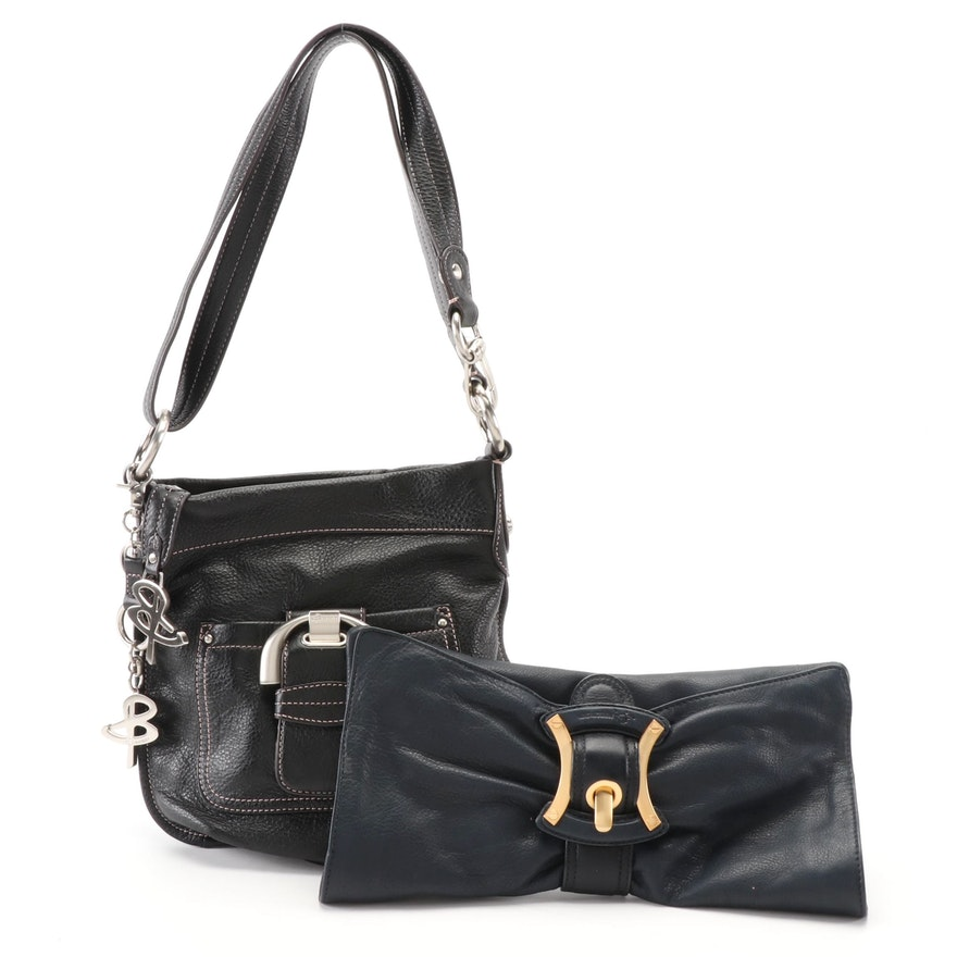 B. Makowsky Leather Navy Blue Convertible Buckle Clutch and Black Shoulder Bag
