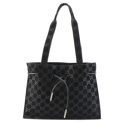 Gucci GG Black Suede Shoulder Tote