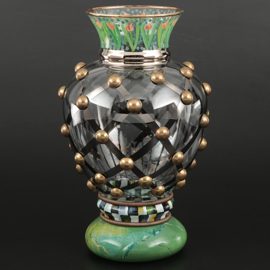 "MacKenzie-Childs ""Circus"" Collection Hand-Painted Glass Vase"