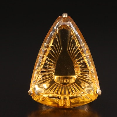 """Lalique """"Ice Light"""" Yellow Crystal Ring"""