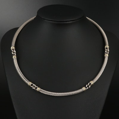 """David Yurman """"Metro Cable"""" Sterling Silver Choker Necklace with 18K Accents"""