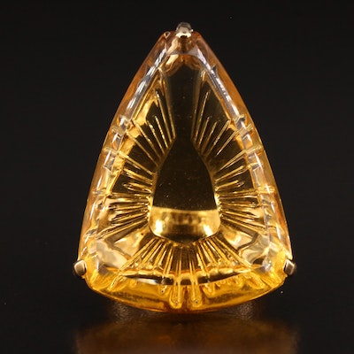 Lalique Ice Light Yellow Glass Crystal Ring