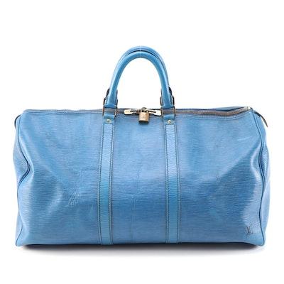 Louis Vuitton Keepall 50 in Toledo Blue Epi Leather