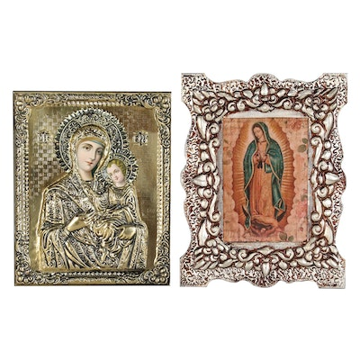 Mixed Media Offset Lithograph Mother Mary Icons, 21th Century