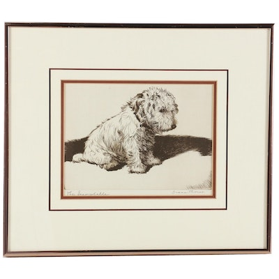 """Diana Thorne Halftone """"The Inconsolable"""" for """"Real Tales of Real Dogs"""", 1935"""
