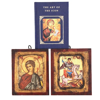 "Two Mixed Media Offset Lithograph Icons and ""The Art of the Icon"" Book"