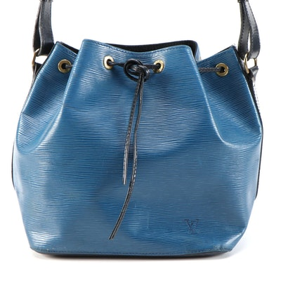 Louis Vuitton Petit Noé Bucket Bag in Two Tone Blue/Black Epi Leather