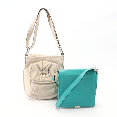 B. Makowsky Vanilla Leather Shoulder Bag and Blue Leather Crossbody Bag