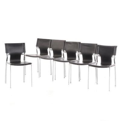 Set of Six Modernist Style Vinyl Upholstered Side Chairs