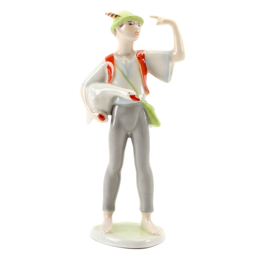 "Hollóháza Style ""Boy with Goose"" Porcelain Figurine, Mid to Late 20th Century"