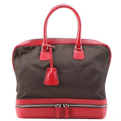 Prada Borsa a Mano Red Leather and Dark Brown Nylon Handbag