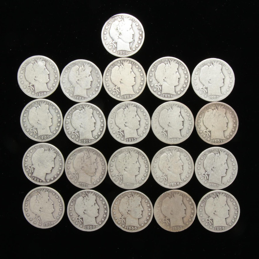 United States Silver Barber Half Dollars, 1900 - 1915, Collection of Twenty-One