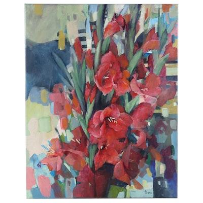 """Alexandra Zecevic Acrylic Painting """"Gladiolus"""", 2020"""