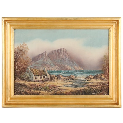 Coastal Seascape Oil Painting, Late 20th Century