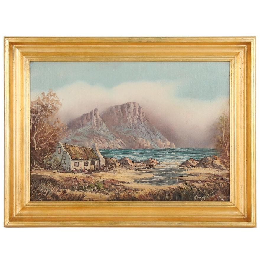 Coastal Seascape Oil Painting, Late 20th Century
